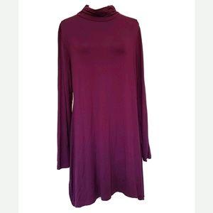 MOCK NECK A SHAPE DRESS TUNIC SUPER SOFT COMFY LON
